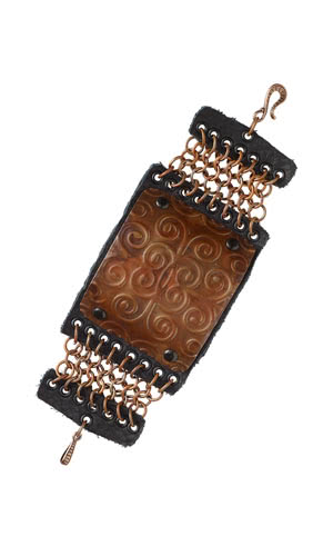 Jewelry Design - Bracelet with Embossed Metal Sheet, Chainmaille and Leather Scrapand Beads