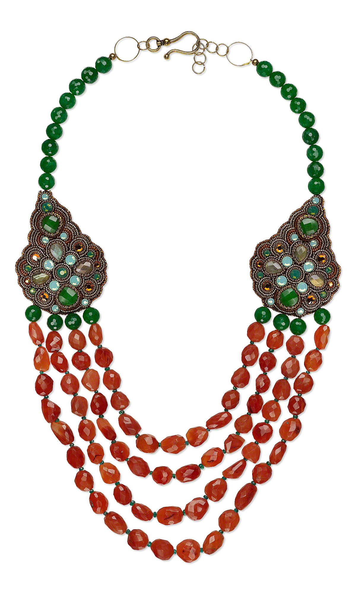 jewelry design multi strand necklace with carnelian gemstone beads