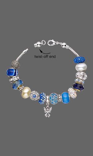 Jewelry Design - Bracelet with Dione® Large-Hole Beads, Sterling Silver and Marcasite Bead and Antiqued Silver-Plated Pewter Beadand Beads