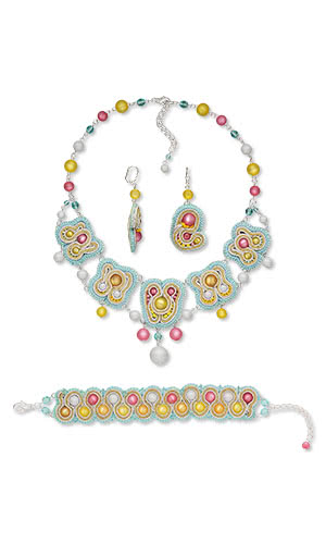 Jewelry Design - Bib-Style Necklace, Bracelet and Earring Set with Cool Frost Resin Beads™, Soutache Cord and Seed Beads