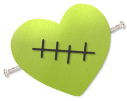 Green Heart with Polymer Clay and Black Clay