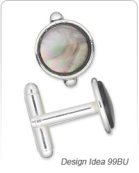 Cuff Links with Black Mother-of-Pearl Cabochons
