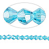 Bead, Celestial Crystal®, glass, 16-facet, turquoise blue, 4mm faceted bicone. Sold per 16-inch strand.