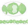 Bead, Celestial Crystal®, glass, 32-facet, green frost, 6mm faceted round. Sold per 16-inch strand.