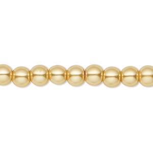 Bead, Celestial Crystal®, glass pearl, gold, 6mm round. Sold per pkg of (2) 16-inch strands.