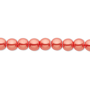 Bead, Celestial Crystal®, glass pearl, orange-red, 6mm round. Sold per pkg of (2) 16-inch strands.