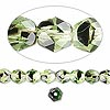 Bead, Czech fire-polished glass, green and brown, 6mm faceted round. Sold per pkg of 1,200 (1 mass).