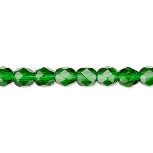 Bead, Czech fire-polished glass, transparent emerald green, 6mm faceted round. Sold per 16-inch strand, approximately 65 beads.