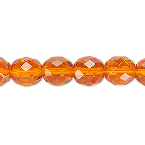 Bead, Czech fire-polished glass, transparent orange, 10mm faceted round. Sold per 16-inch strand, approximately 40 beads.
