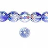 Bead, Czech fire-polished glass, two-tone, crystal / blue AB, 10mm faceted round. Sold per pkg of 1/2 mass.