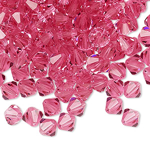 Bead, Preciosa Czech crystal, rose, 6mm faceted bicone. Sold per pkg of 24.