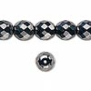 Bead, Preciosa Czech fire-polished glass, hematite, 10mm faceted round. Sold per pkg of 600 (1/2 mass).