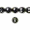 Bead, Preciosa Czech fire-polished glass, hematite/gold, 10mm faceted round. Sold per pkg of 600 (1/2 mass).