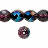 Bead, Preciosa Czech fire-polished glass, lilac with blue iris finish, 12mm faceted round. Sold per pkg of 600 (1/2 mass).