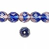 Bead, Preciosa Czech fire-polished glass, two-tone, blue/pink, 10mm faceted round. Sold per pkg of 600 (1/2 mass).