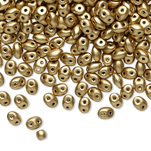 Bead, Preciosa Twin™ Pressed Twin, Czech pressed glass, gold, 5x2.5mm oval with 2 holes. Sold per 10-gram pkg.