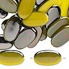 Bead, Shimmer™, plastic, metallic yellow, 29x16mm flat oval. Sold per pkg of 38.
