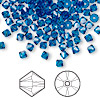 Bead, Swarovski crystal, Capri blue, 4mm Xilion bicone (5328). Sold per pkg of 144 (1 gross).