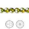 Bead, Swarovski crystal, Crystal Blend Colors, Crystal Passions®, fern green and topaz, 8mm faceted round (5000). Sold per pkg of 144 (1 gross).