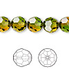 Bead, Swarovski crystal, Crystal Blend Colors, Crystal Passions®, fern green and topaz, 10mm faceted round (5000). Sold per pkg of 2.