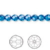 Bead, Swarovski crystal, Crystal Passions®, Capri blue, 6mm faceted round (5000). Sold per pkg of 12.