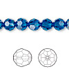 Bead, Swarovski crystal, Crystal Passions®, Capri blue, 8mm faceted round (5000). Sold per pkg of 12.