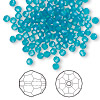 Bead, Swarovski crystal, Crystal Passions®, Caribbean blue opal, 3mm faceted round (5000). Sold per pkg of 12.