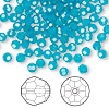 Bead, Swarovski crystal, Crystal Passions®, Caribbean blue opal, 4mm faceted round (5000). Sold per pkg of 144 (1 gross).