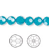 Bead, Swarovski crystal, Crystal Passions®, Caribbean blue opal, 8mm faceted round (5000). Sold per pkg of 12.