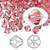 Bead, Swarovski crystal, Crystal Passions®, Indian pink, 6mm Xilion bicone (5328). Sold per pkg of 144 (1 gross).