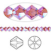 Bead, Swarovski crystal, Crystal Passions®, Indian pink AB2X, 4mm Xilion bicone (5328). Sold per pkg of 48.