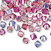 Bead, Swarovski crystal, Crystal Passions®, Love Struck, 6mm Xilion bicone (5328). Sold per pkg of 144 (1 gross).