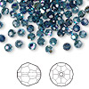 Bead, Swarovski crystal, Crystal Passions®, Montana AB, 4mm faceted round (5000). Sold per pkg of 144 (1 gross).