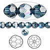 Bead, Swarovski crystal, Crystal Passions®, Montana AB, 6mm faceted round (5000). Sold per pkg of 12.