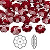Bead, Swarovski crystal, Crystal Passions®, Siam, 10x3.5mm faceted marguerite lochrose flower (3700). Sold per pkg of 12.