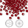 Bead, Swarovski crystal, Crystal Passions®, Siam, 4mm faceted round (5000). Sold per pkg of 144 (1 gross).
