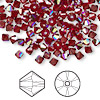 Bead, Swarovski crystal, Crystal Passions®, Siam AB, 4mm Xilion bicone (5328). Sold per pkg of 144 (1 gross).