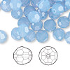 Bead, Swarovski crystal, Crystal Passions®, air blue opal, 8mm faceted round (5000). Sold per pkg of 144 (1 gross).
