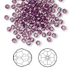 Bead, Swarovski crystal, Crystal Passions®, amethyst, 3mm faceted round (5000). Sold per pkg of 144 (1 gross).