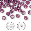 Bead, Swarovski crystal, Crystal Passions®, amethyst, 6mm faceted round (5000). Sold per pkg of 144 (1 gross).