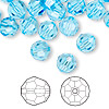 Bead, Swarovski crystal, Crystal Passions®, aquamarine, 8mm faceted round (5000). Sold per pkg of 144 (1 gross).
