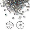 Bead, Swarovski crystal, Crystal Passions®, black diamond AB, 3mm Xilion bicone (5328). Sold per pkg of 144 (1 gross).