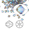 Bead, Swarovski crystal, Crystal Passions®, black diamond AB2X, 4mm Xilion bicone (5328). Sold per pkg of 144 (1 gross).