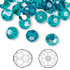 Bead, Swarovski crystal, Crystal Passions®, blue zircon AB, 8mm faceted round (5000). Sold per pkg of 144 (1 gross).