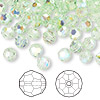Bead, Swarovski crystal, Crystal Passions®, chrysolite AB, 6mm faceted round (5000). Sold per pkg of 144 (1 gross).