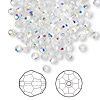 Bead, Swarovski crystal, Crystal Passions®, crystal AB, 3mm faceted round (5000). Sold per pkg of 144 (1 gross).
