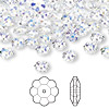 Bead, Swarovski crystal, Crystal Passions®, crystal AB, 6x2mm faceted marguerite lochrose flower (3700). Sold per pkg of 144 (1 gross).