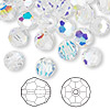 Bead, Swarovski crystal, Crystal Passions®, crystal AB, 8mm faceted round (5000). Sold per pkg of 144 (1 gross).