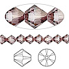Bead, Swarovski crystal, Crystal Passions®, crystal antique pink, 6mm Xilion bicone (5328). Sold per pkg of 24.