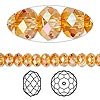 Bead, Swarovski crystal, Crystal Passions®, crystal astral pink, 6x4mm faceted rondelle (5040). Sold per pkg of 144 (1 gross).
